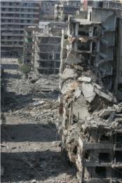 Bâtiments de Haret Hreik détruit après la guerre de 2006. Source : Waad