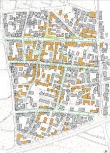 Le plan des immeubles reconstruits (source: Waad)